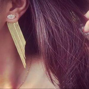 Gold plated tassels crystal earrings